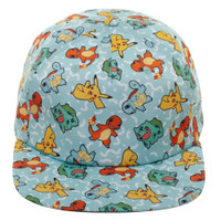 Pokemon Pikachu Squirtle Charmander Bulbasaur All Over Snapback Cap