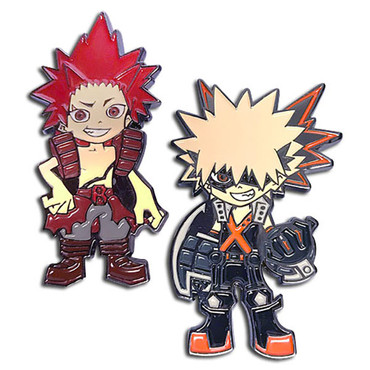My Hero Academia Kacchan Katsuki Bakugo Red Riot Eijiro Kirishima Pins Set Of 2