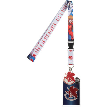 Neon Genesis Evangelion Lanyard with Sticker ID Badge Holder & NERV Charm