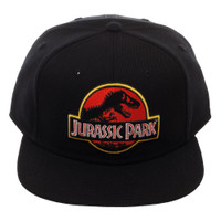 Jurassic Park Embroidered Logo Black Snapback Cap Hat