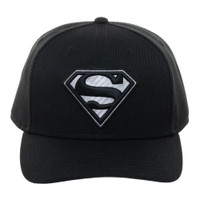 Superman Black Suit S-Shield Carbon Fiber Pre-curved Snapback Cap Hat
