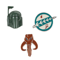 Star Wars Lapel Pin Set of 3 - Boba Fett Helmet, Mandalorian Crest, & Mythosaur Skull