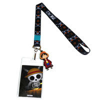 One Piece Symbols Lanyard with ID Badge Holder & Luffy Charm