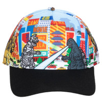Godzilla All Over Print Pre-Curved Snapback Cap Hat