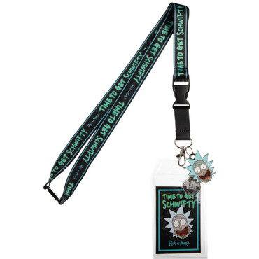 Rick & Morty Time To Get Schwifty Lanyard with Sticker ID Holder & Charm