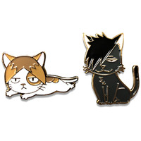 Haikyu!! Kuroo Cat and Kenma Kozume Cat Pins Set of 2