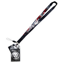 Marvel Punisher Lanyard with ID Badge Holder & Skull Soft Dangle Charm