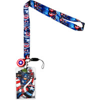 Marvel Captain America Lanyard with ID Badge Holder & Shield Soft Dangle Charm