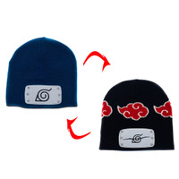 Naruto Shippuden: Leaf & Anti-Leafe Village Akatsuki Clouds Reversible Beanie Hat