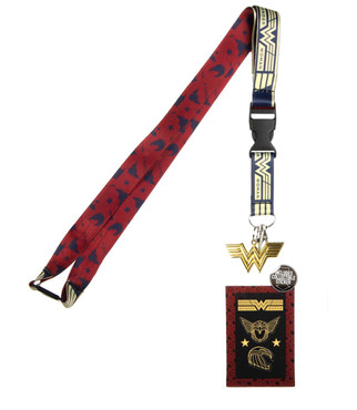 Wonder Woman 1984 Lanyard with ID Badge Holder, Collectible Sticker, & Charm