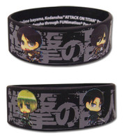 Attack On Titan: Chibi SD Characters Line Up Black PVC Wristband