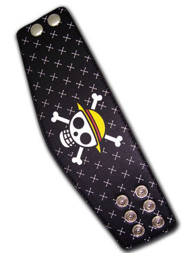 One Piece: Jolly Roger Skull Leather Wristband