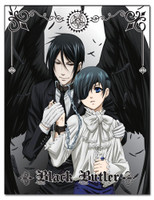 lack Butler: Ciel and Sebastian Black Wings Sublimation Throw Blanke