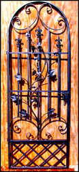 Charlotte Louviere French Styled Iron Wine Cellar Gate with Grapes