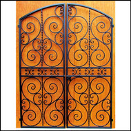 Scalloped Scroll Iron Wine Cellar Double Door, Several sizes to choose from