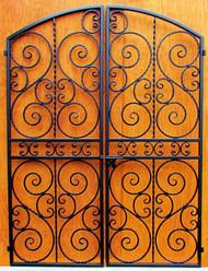Scalloped Scroll Iron Wine Cellar Double Door