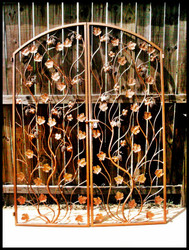 "Artistic Grapevine Wrought Iron Double Wine Cellar Door. 60"" X 80"""