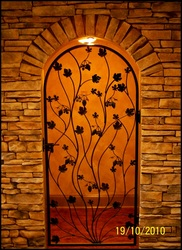 "Artistic Grapevine Iron Wine Cellar Door or Gate 36"" X 80"""