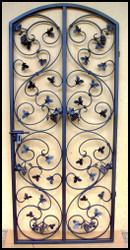 NEW! - Leaf Scroll Iron Gate with Grapes - 32, 34 or 36 inches wide and 72 to 78 inches tall