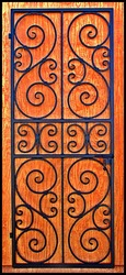 "Square top Scalloped Scroll Iron Wine Cellar Door or Gate 36"" X 80"""