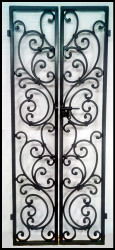 NEW!! Tuscany Style Wrought Iron Wine Cellar Double Door. Can be built from 66 to 80 inches tall