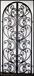 "Tuscany Style Wrought Iron Wine Cellar Double Door 36"" by 86"""