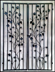 Charlotte Grapevine Double Iron Wine Cellar Door. 57.5 inches wide by 79.5 inches tall.