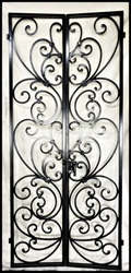 "Tuscany Style Wrought Iron Wine Cellar Double Door 36"" by 80"""