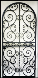 "Round Top Scalloped Scroll Iron Wine Cellar Door or Gate 36"" X 80"", Square or Eyebrow Arch Top too."