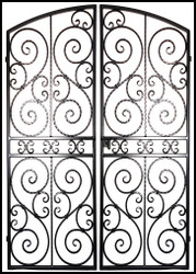 Scalloped Scroll Iron Wine Cellar Double Door