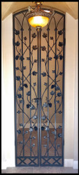 French Grapevine Double Iron Wine Cellar Door - 36 inches wide by 80, 96 or 108 inches tall