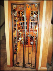 24 by 96 Chardonnay Grapevine Double Iron Wine Cellar Gate