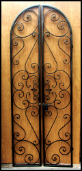 Forged Iron Scroll Wine Cellar Double Door