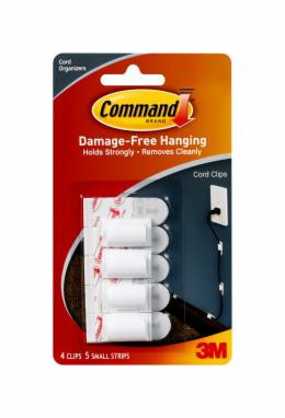 Command™ Cord Clips - 17017 ANZ 4 clips, 5 strips Damage-Free Hanging Keeps cords out of the way Great for entertainment areas Home and office Holds strongly Removes cleanly