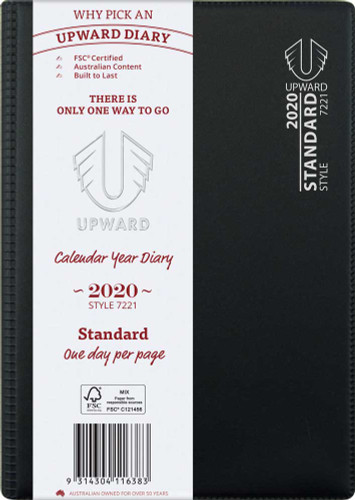 Upward 7221 Diary A5 Standard PVC Sewn Day To Page A51 bound spine, not spiral