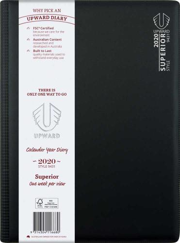 Diary 2020 Upward 9431 A4 PVC Week Opening Wiro Superior 60 min, 7 am - 8 pm