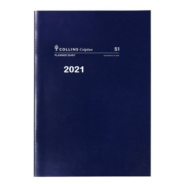 Diary 2021 A4 Planner month to view 51.C5921 Colplan Australia