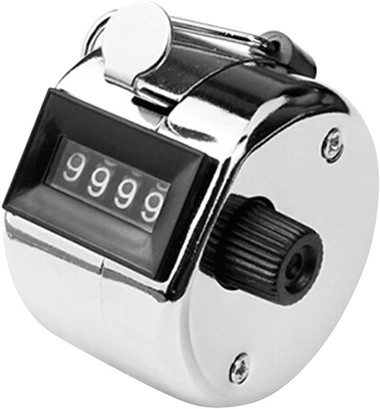 Tally Counter Hand Held 4 digit 0000-9999 chrome