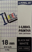 Label Printer Tape Casio 18mm Black ink on White tape AR18we