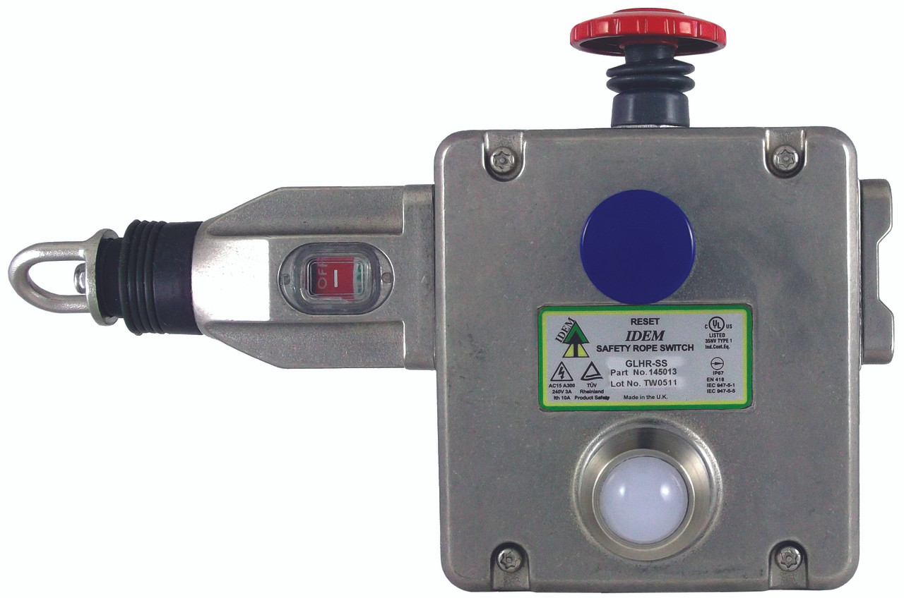 GLHR-SS - Heavy Duty Right Rope Switch - 4NC 2NO - M20 - Stainless Steel  w/LED