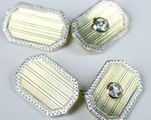 Men's Double Sided Diamond Art Deco cuff links