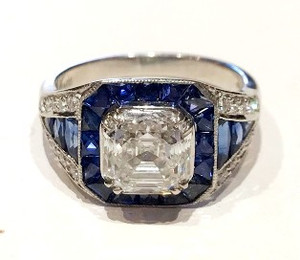 "Modern ""Sophia D""  2.25ct Asscher Cut Diamond and Sapphire Ring in Platinum"