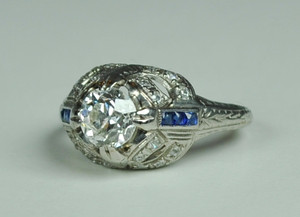 On Sale Art Deco Platinum Engagement Ring .90 carats
