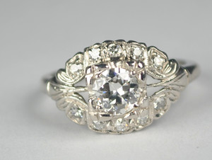Mid Century .60 Carat Diamond Platinum Engagement ring