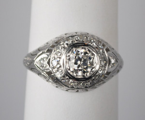 On Sale .50 Carat Platinum and Diamond Edwardian Engagement Ring