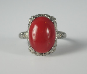On Sale Large Red Coral Ring 14kt White Gold