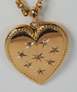 Victorian 14kt & Mine Cut Diamond Heart Locket