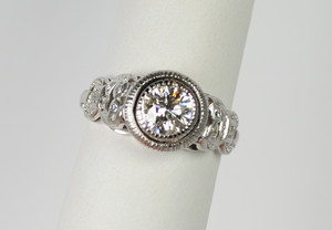 SOLD Art Deco Style Platinum Diamond Ring .75 carats