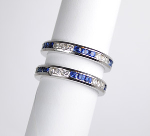 18kt White Gold Diamond & Sapphire Eternity Band
