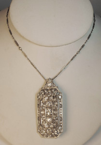 On Sale Art Deco Platinum & Diamond Pin/Pendant 6ctw. with chain